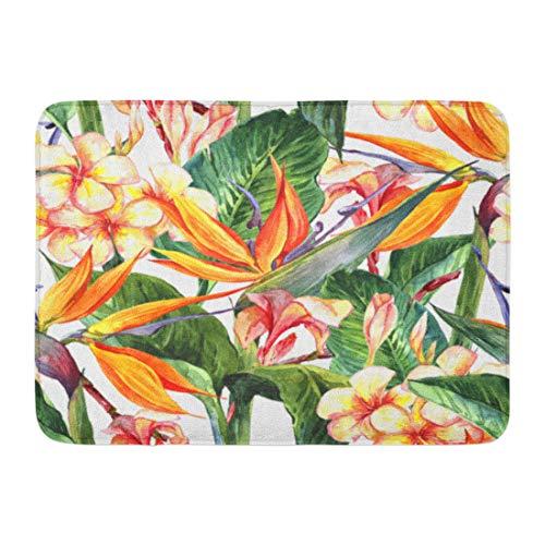 Emvency Doormats Bath Rugs Outdoor/Indoor Door Mat Watercolor Floral Tropical Exotic Flowers Bird of Paradise Colorful Pattern Bathroom Decor Rug 16