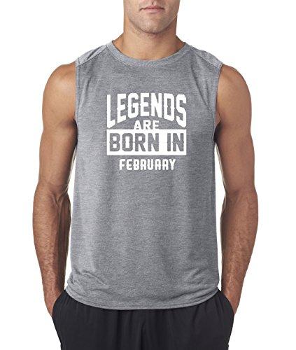 New Way 655 - Men's Sleeveless Legends Are Born In February Aquarius Pisces Large Heather Grey (Aquarius Tank)