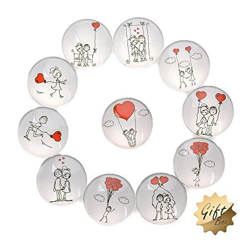 FF Elaine 11 Pack Love Style Crystal Glass Fridge Magnets - Refrigerator Magnets, Office Magnets, Calendar Magnets, Whiteboard Magnets