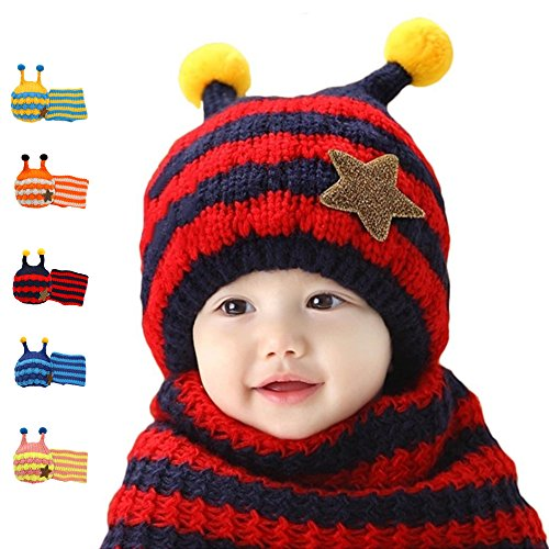 Navy/Red Knit Scarf And Hat Set, Dealzip Inc® Cute Baby Girls Boys Honeybee Stripe Woolen Plush Warm Earflap Beanie Hat Scarf Set