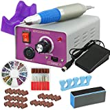 ZENY 25000RMP Nail Drill Machine Electric Nail Drill Kit File Acrylic Gel Nail Grinder Tool Bits Set Low Heat Low Noise Low Vibration