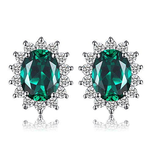- Jewelrypalace Gemstones Birthstone 1.1ct Simulated Emerald Stud Earrings For Women 925 Sterling Silver Earrings For Girls Princess Diana William Kate Halo Earrings