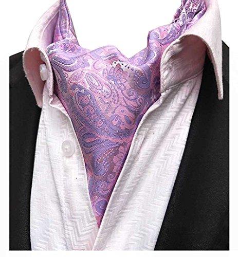 (L04BABY Pink Purple Paisley Jacquard Woven Men's Cravat Scarf Tie Ascot)