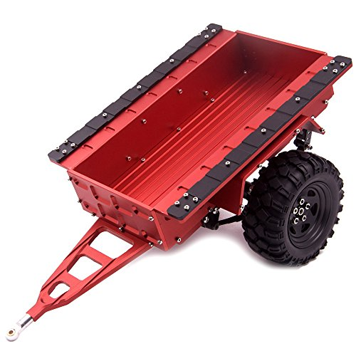 1:10 Leaf Spring Aluminum Hitch Mount Trailer with Wheels for RC Crawler Medium Red