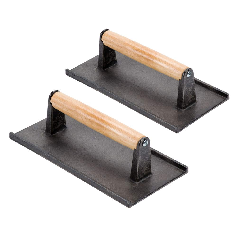 (Set of 2) Cast Iron Steak Weight/Bacon Press with Wooden Handle, 8 x 4-Inch Heavy-Weight Grill Press by Tezzorio, Commercial Grade Burger/Panini Weight Press by Tezzorio Kitchen Utensils (Image #1)