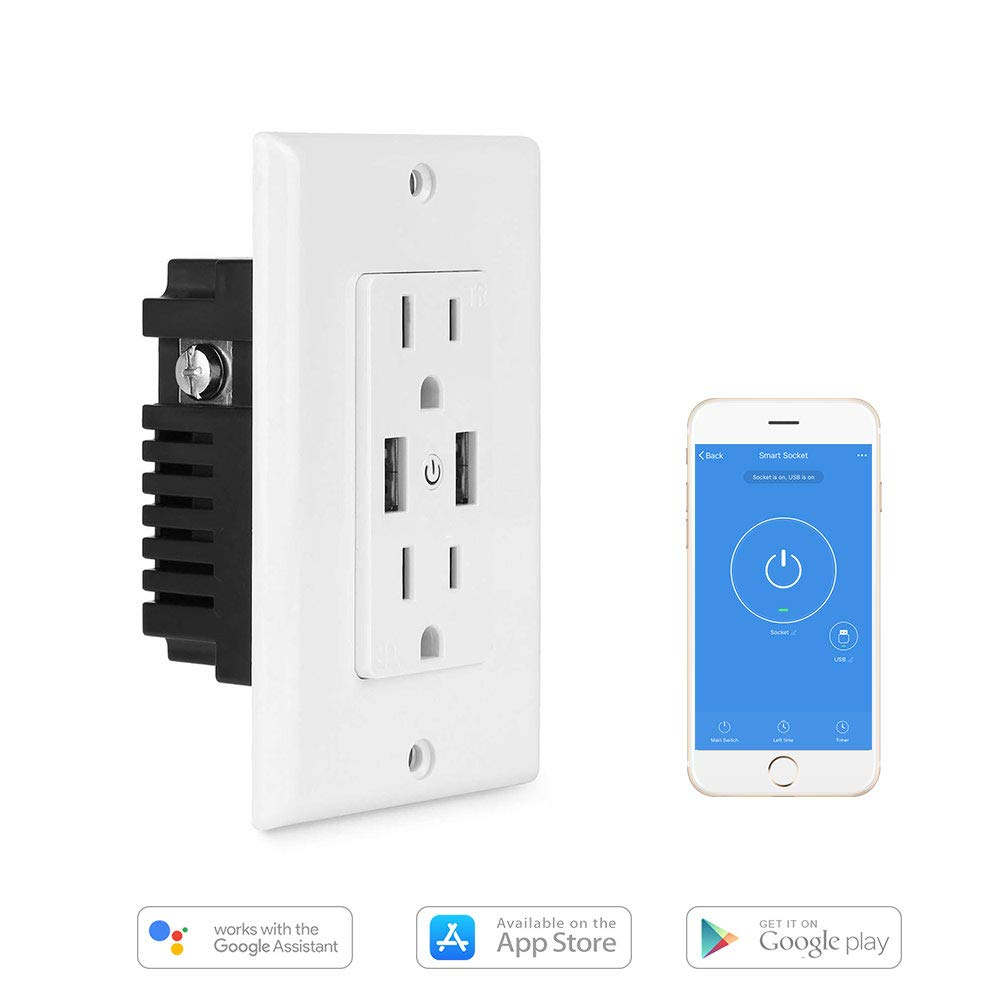 Wifi Smart Plug Wall-in Outlet with 2 Sockets and 2 USB Ports, TIKLOK15 Amp Duplex Receptacle Tamper Resistant, Compatible With Amazon Alexa Google Home Assistant and Siri, No Hub Required