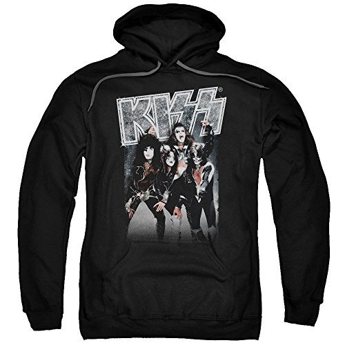 Kiss Hard Rock Metal Band Sparkling Silver Adult Pull-Over Hoodie