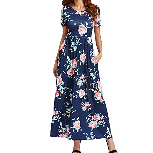 Price comparison product image Women Tunic Tops Dresses On Sale Lady Floral Short Sleeve Summer Outift Evening Party Long Maxi Dress (M,  Blue)