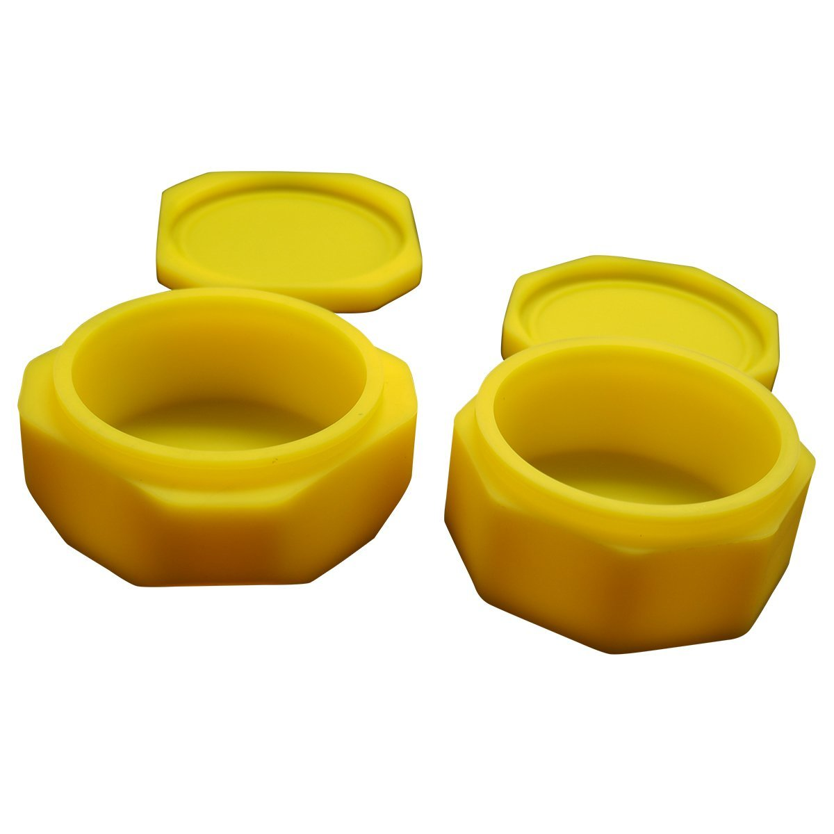 Gentcy Large Silicone Container Jars Oil Multi Compartment Concentrate Large Wax Yellow 2PCS