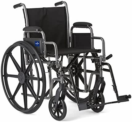 """Medline Strong and Sturdy Wheelchair with Desk-Length Arms and Swing-Away Leg Rests for Easy Transfers, 20"""" Seat"""
