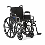 Medline Strong and Sturdy Wheelchair with Desk-Length Arms and Swing-Away Leg Rests for Easy Transfers, 18