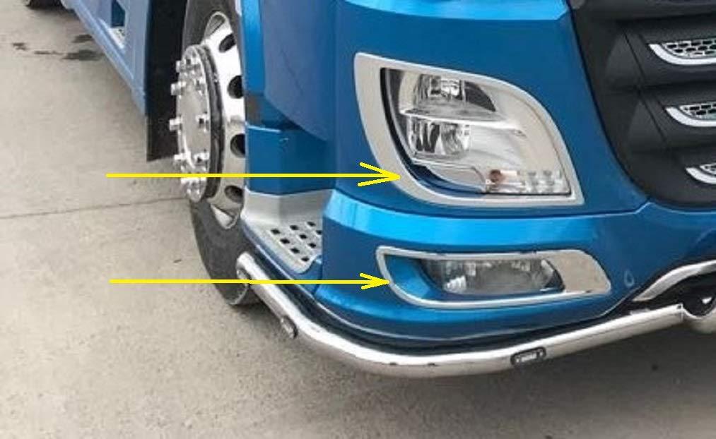 Phare antibrouillard pour camions XF 106 Euro6 VNVIS Lot de 4 d/écorations de Phare en Acier Inoxydable