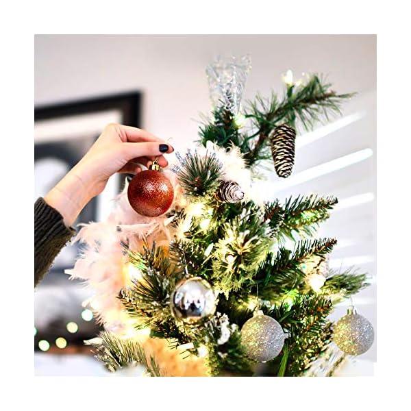 Yisscen Palle di Natale Decorazioni per Alberi, Palle per Alberi di Natale, Palle Decorative Natalizie, Palline Decorative Luccicanti opache e Lucide, per Decorazioni Feste, 24 Pezzi (Rosa Rossa) 4 spesavip