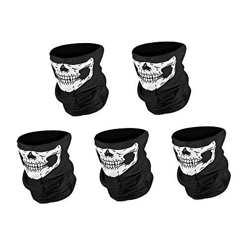[5 pcs White Skull Mask Seamless Skull Face Tube Motorcycle Half Face Mask] (Half White Face Costume)