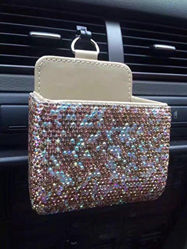 TISHAA Gorgeous Crystal Bling Bling Car Air Vent Mobile Cellphone Pocket Bag Pouch Box Storage Organizer Carrying Case (2 Full Gold Stones)