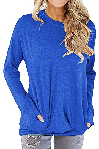 Round Neck Women Sweatshirt - RJXDLT Women's Casual Long Sleeve Round Neck Sweatshirt Loose Soft with Pockets Pullover Blouse Tops Shirt Tunics Blue L