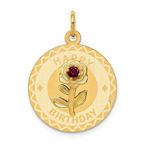 14k Happy Birthday Disc Charm with Cubic Zirconia Flower, 14 kt Yellow Gold