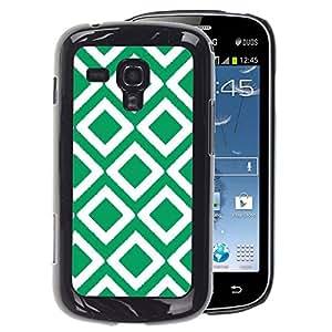 A-type Arte & diseño plástico duro Fundas Cover Cubre Hard Case Cover para Samsung Galaxy S Duos S7562 (Checkered Vintage Wallpaper Pattern Green)