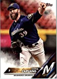 2016 Topps Update #US14 Chris Capuano Milwaukee Brewers Baseball Card in Protective Screwdown Display Case