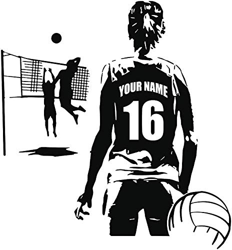 FSDS Wall Decal Personalized Custom Girl Volleyball Player - Choose Your Name & Numbers Custom Player Jerseys Vinyl Decal Sticker Decor Kids Bedroom