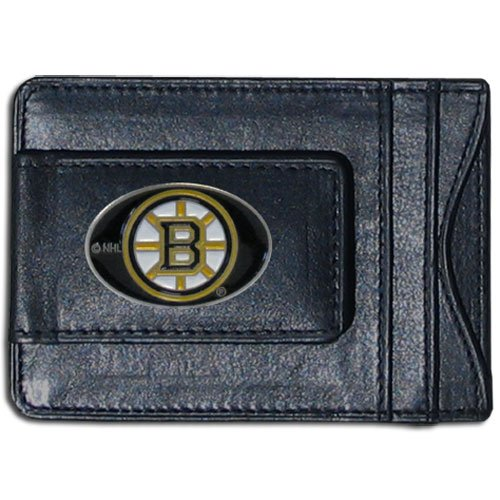 NHL Boston Bruins Genuine Leather Cash and Cardholder (Boston Nhl Bruins Card)