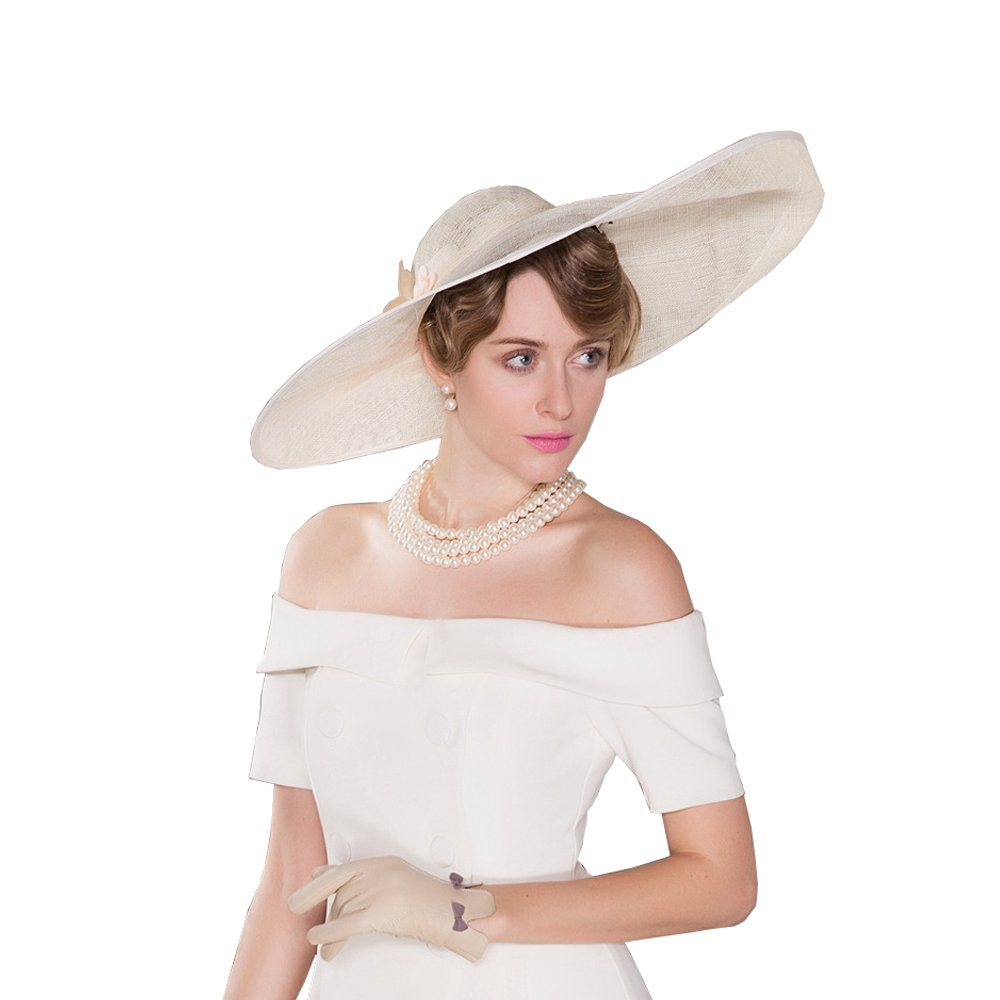 HomArt Women's Wide Brim Wedding Church British Party Hat Triple Crown of Thoroughbred Racing Hat with Flower pattern, Beige by HomArt (Image #3)