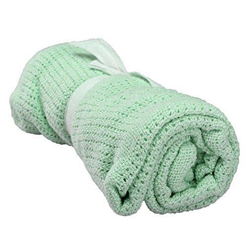 SODIAL(R) 100% Cotton Baby Infant Cellular Soft Blanket Pram Cot Bed Mosses Basket Crib Color:Fruit green
