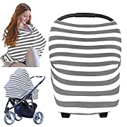 Carseat Canopy Cover - Baby Car Seat Canopy KeaBabies - All-in-1 Nursing Breastfeeding Covers Up - Baby Car Seat Canopies For Boys, Girls - Stroller Covers - Shopping Cart Cover (Gray)