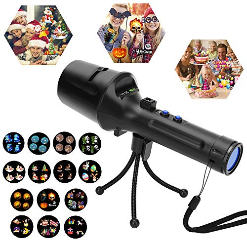 Handheld Projector Lights, Christmas Led Light Projector, Battery Operated 2 in 1 Portable Projector Flashlight & Lighting Projector with 14pcs Slides for Halloween Party Home Holiday - Gift for Kids