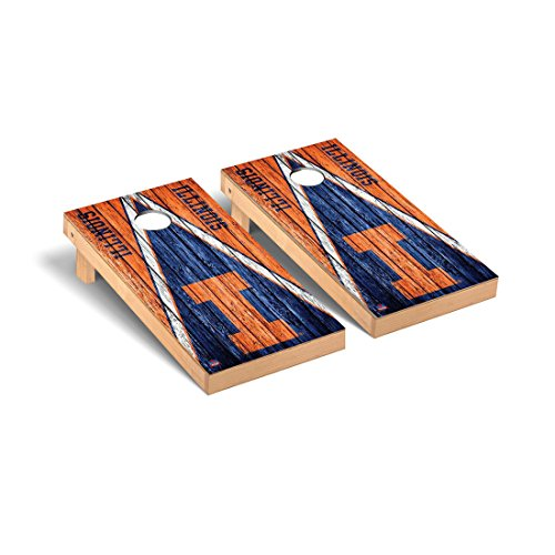 College Vault Illinois Fighting Illini Regulation Cornhole Game Set Weathered Triangle Version - Illinois Fighting Illini Bean Bag