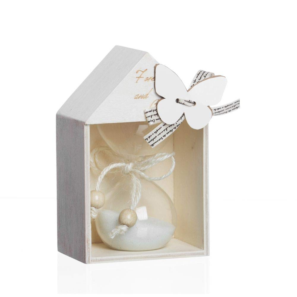 4 PZ Clessidra in casa casetta legno e scatola regalo BOMBONIERA