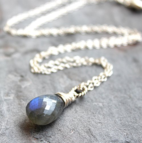 Labradorite Necklace Pendant Sterling Silver Blue Gray Gemstone Faceted (Faceted Labradorite Pendant)