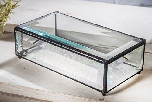 J Devlin Box 830 Large Clear Beveled Glass Jewelry Keepsake Box Home Decor Display (Keepsake Glass)