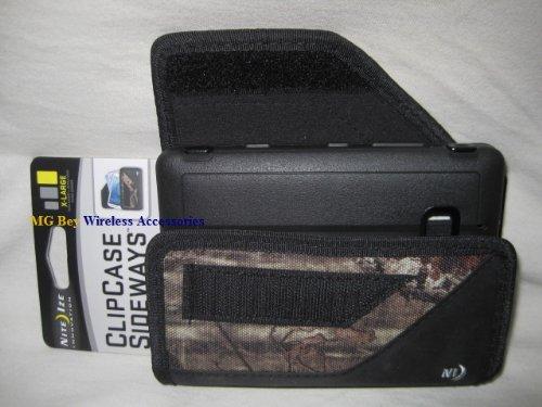 Nite Ize Black/Camouflage Mossy Oak Extended Sideways Horizontal Rugged Heavy Duty X-large Case Cover W/Durable Fixed Belt Clip Fits Verizon Nokia Lumia 928 Hybrid / Otterbox Defender (Nokia Lumia 928 Trident Case)
