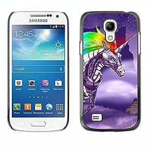 Design for Girls Plastic Cover Case FOR Samsung Galaxy S4 Mini i9190 Unicorn Fairytale Magical Creature Sky Fly OBBA