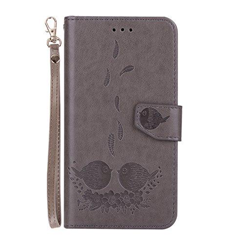 téléphone pour fente support motifs magnétique relief fermeture 2017 protection avec étui de cas en Flip avec PU Wallet cuir carte gray Samsung J320 de SM J3 Hozor Galaxy exquis wA48q