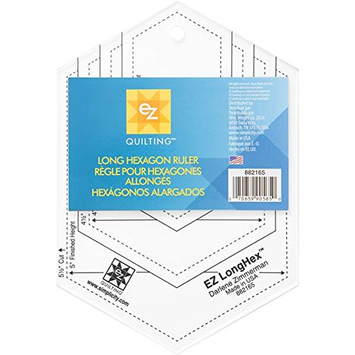 EZ Quilting Long Hexagon Ruler Acrylic Template, Transparent Simplicity 882165