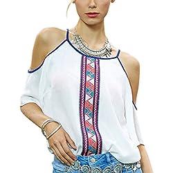 Zehui Blusa de gasa, de moda Impresión de la raya de la flor de las mujeres Camisa de las tapas de la gasa del diseño delgado del cuello del halter con los hombros descubiertos