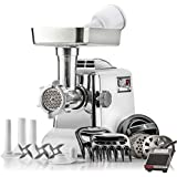 "STX International""Platinum Edition"" Megaforce Heavy Duty 1200W Electric Meat Grinder: 3 Lb Meat Tray, 4 Grinding Plates, 3 S/S Blades, Sausage Stuffer, Kubbe, Meat Claws, Burger Press & Foot Pedal"