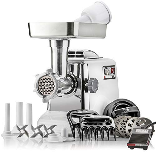 STX Megaforce - Platinum Edition -''Patented Air Cooled'' Electric Meat Grinder w/Foot Pedal & Sausage Stuffer - 4 Grinding Plates, 3 S/S Blades, 3 Sausage Tubes, Kubbe Maker, Meat Claws & Burger Press by STX INTERNATIONAL