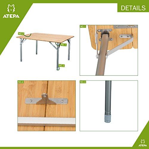 ATEPA 4-Fold Bambu Heavy Duty Adjustable Height Aluminum Frame Folding Bamboo Table with Carry Bag by ATEPA (Image #3)