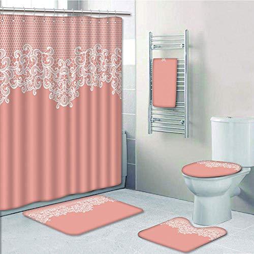 iPrint Bathroom 5 Piece Set Shower Curtain 3D Print,Peach,Abstract Lace Design Wedding Engagement Inspiration Floral Arrangement Pale Backdrop Decorative,Coral White,Picture Print Design