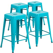 Flash Furniture 4 Pk. 24'' High Backless Crystal Teal-Blue Indoor-Outdoor Counter Height Stool