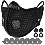 AstroAI Reusable Dust Face Mask with 7 Filters - Personal Protective Adjustable for Running, Cycling, Outdoor Activities(Black, 1 Mask + 7 Activated Carbon Filters +4 Breathing Valves)