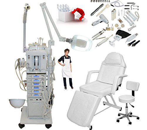 17 in 1 Elite Series Multifunction Diamond Microdermabrasion Facial Machine & Adjustable Stationary Bed Table Chair Salon Spa Beauty Equipment by LCL Beauty