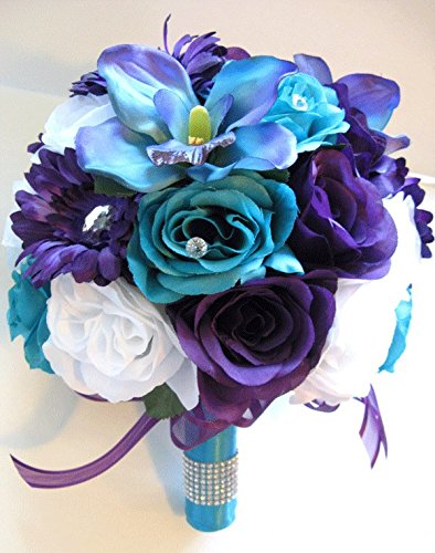 17 Pieces Package Wedding Bouquet Bridal Silk flower PURP...