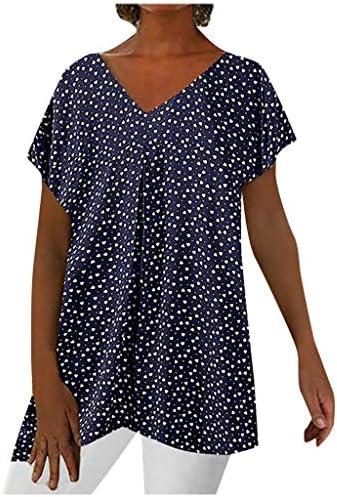 Meikosks Womens Polka Dot Print T-Shirt Short Sleeves V-Neck Tops Summer Casual Blouses
