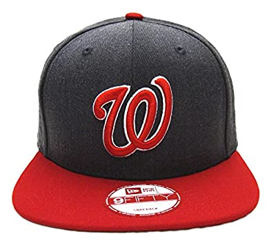 Washington Nationals New Era Heather Graphite Snapback Cap Hat Charcoal Red
