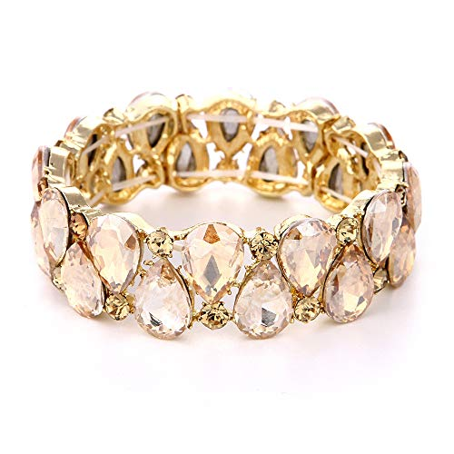 Youfir Bridal Austrian Crystal Teardrop Knot Elastic Stretch Bracelet for Brides Wedding - Bracelet Austrian Crystal Cuff