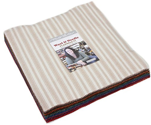 Wool & Needle VI Flannels Layer Cake, 42-10 inch Precut Fabric Quilt Squares by Primitive Gatherings - Maywood Flannel Quilt Fabric